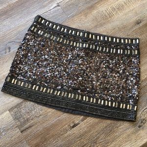 All Saints brown beaded and sequined skirt